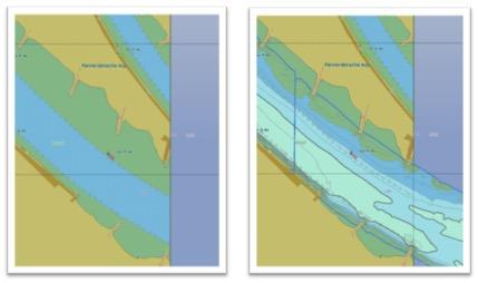 Links de IENC met baggerdiepte informatie; Rechts is de bathymetrie ENC toegevoegd met diepte informatie t.o.v OLR. NB de grens van de Bathymetrie ENC is de blauwe lijn. Merk op dat deze lijn bv bij de kribben niet meer te zien.